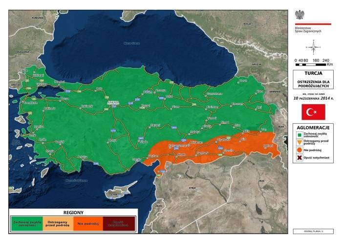 Mapa ostrzeżeń MSZ w Turcji