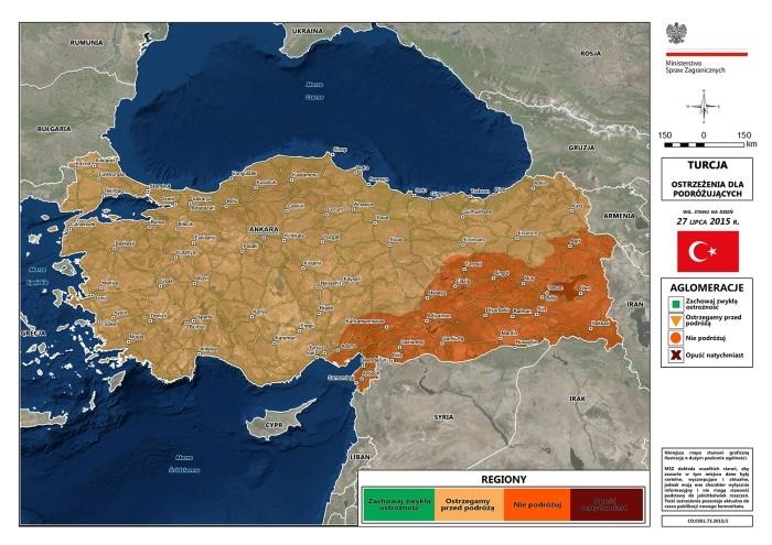 Mapa ostrzeżeń MSZ - Turcja, wrzesień 2015