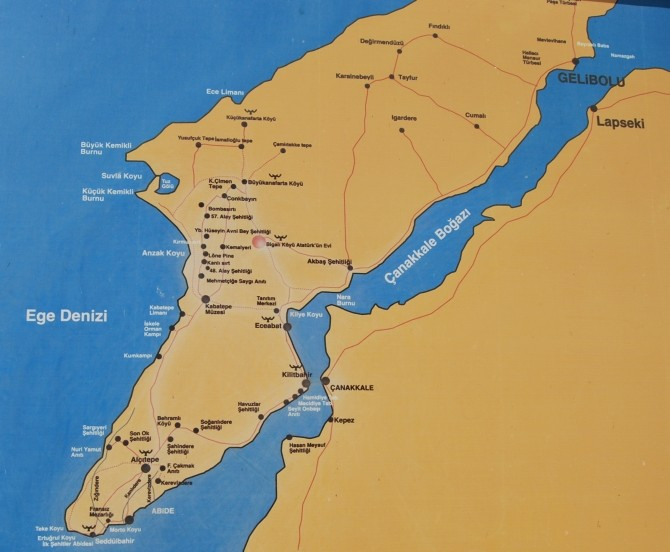Mapa półwyspu Gallipoli
