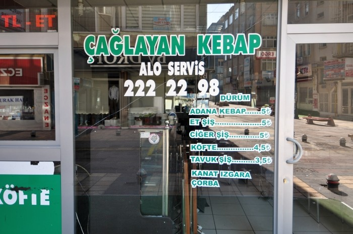Przykładowy cennik restauracji w Kayseri