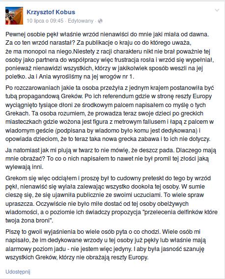 Odpowiedż Krzystofa Kobusa