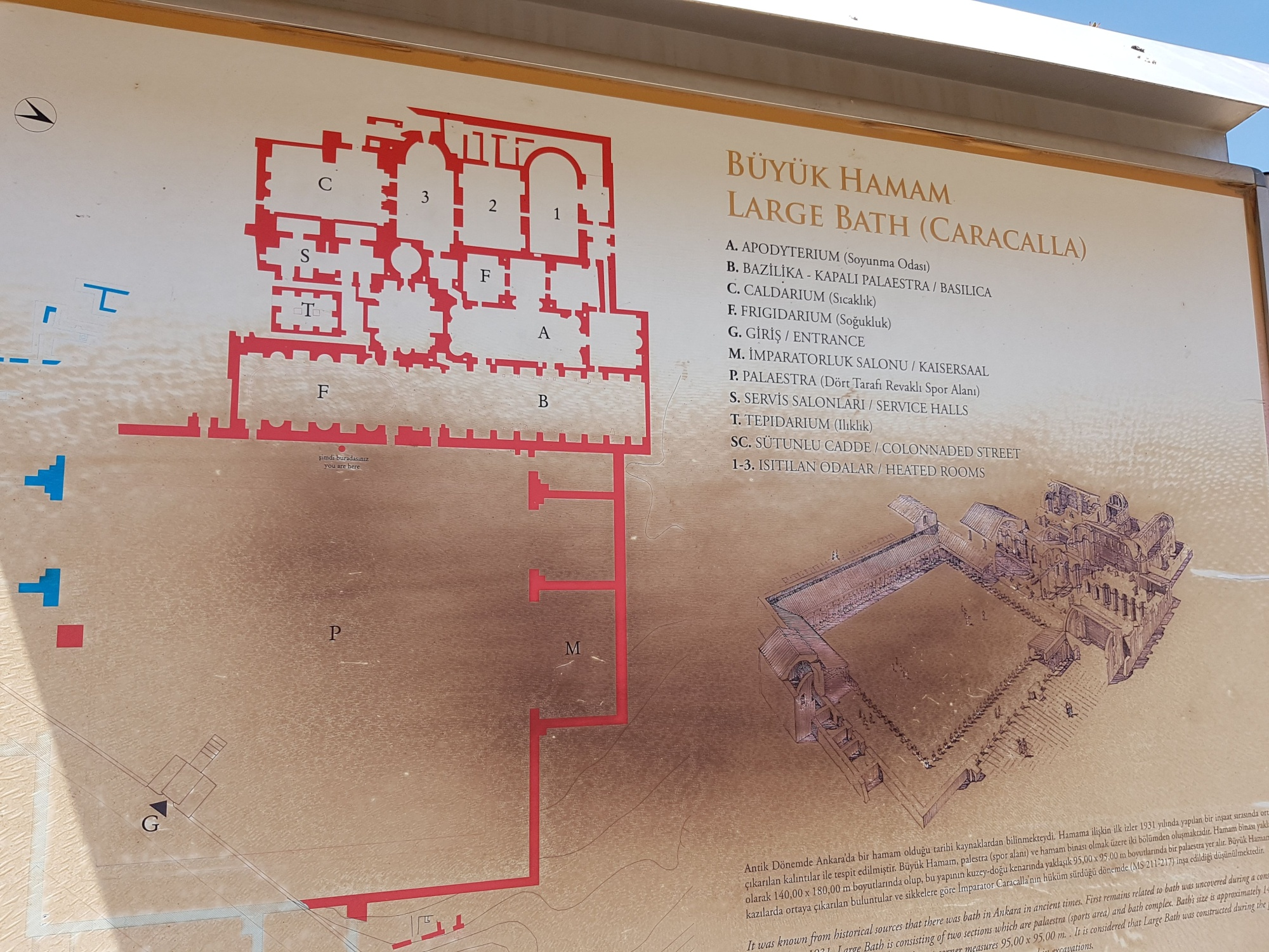 Plan and reconstruction of Roman Baths in Ankara