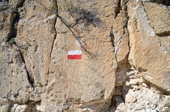 Oznakowanie Drogi Frygijskiej w wąwozie w Ayazini
