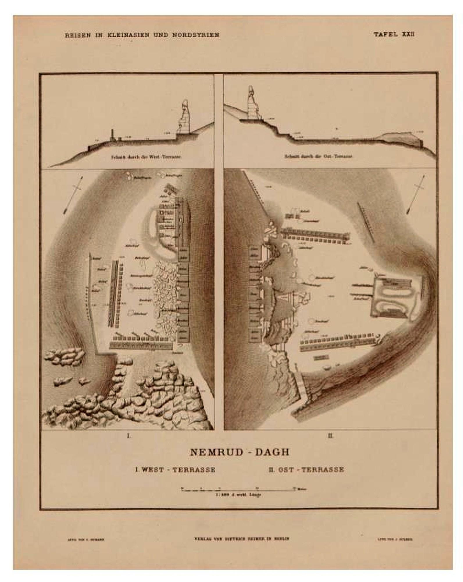 Plantas de West e East Terrace no Monte Nemrut - de Humann, Carl i Puchstein, Otto,