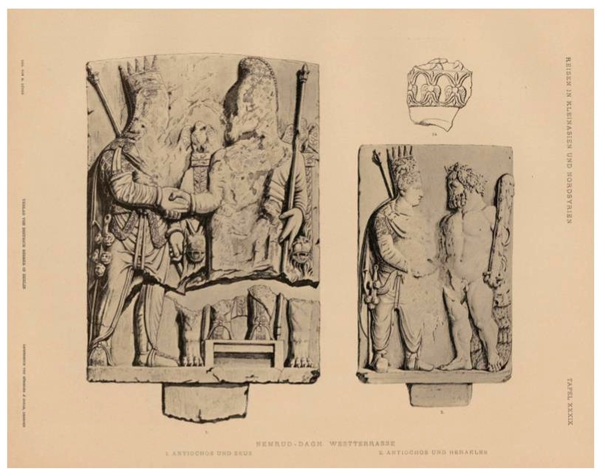 Reliefs of dexiosis - Antiochus shaking hands with Zeus and Heracles, West Terrace on Mount Nemrut - from Humann, Carl i Puchstein, Otto,