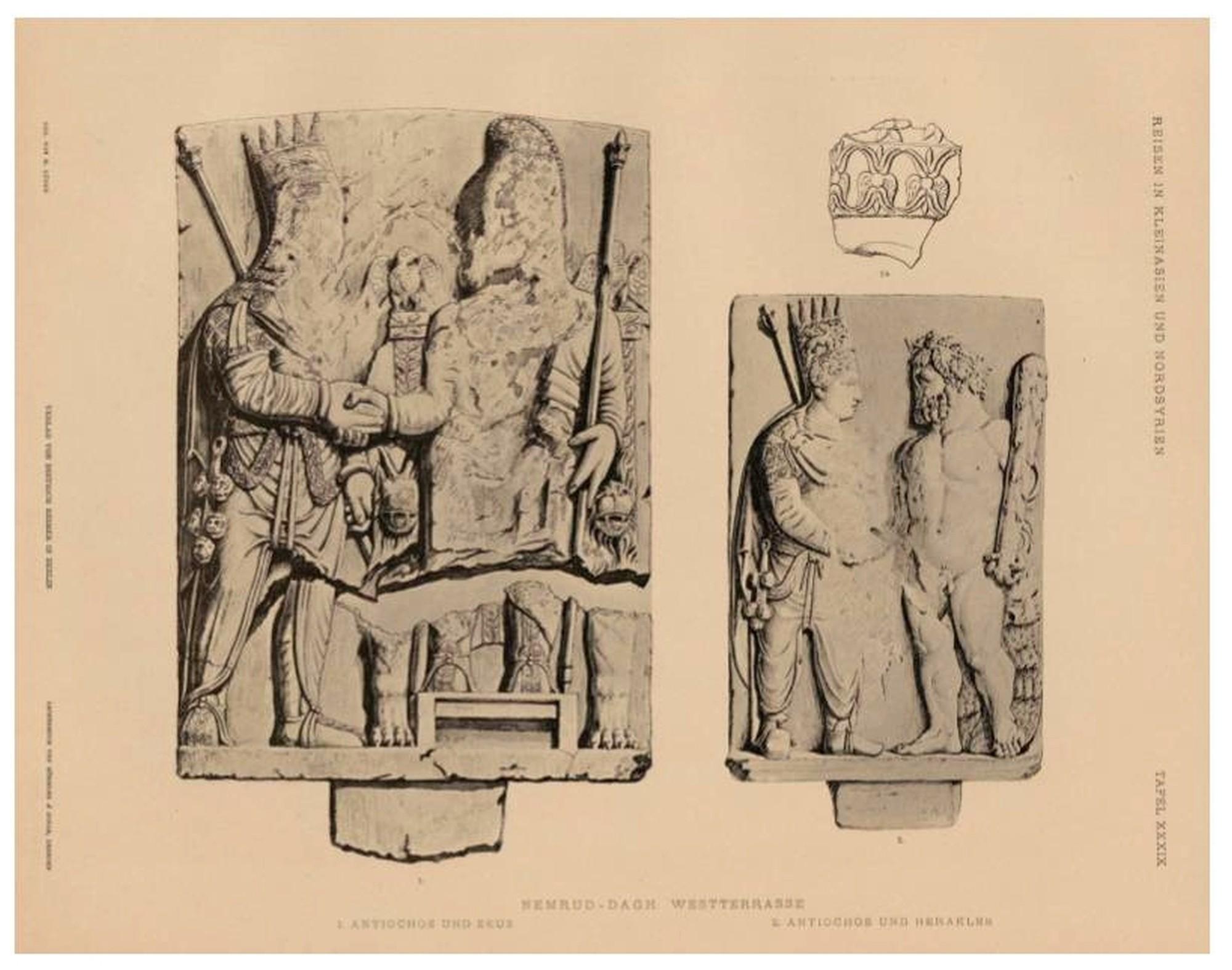 Alívio da dexiose - Antíoco apertando a mão de Zeus e Heracles, West Terrace no monte Nemrut - de Humann, Carl i Puchstein, Otto,