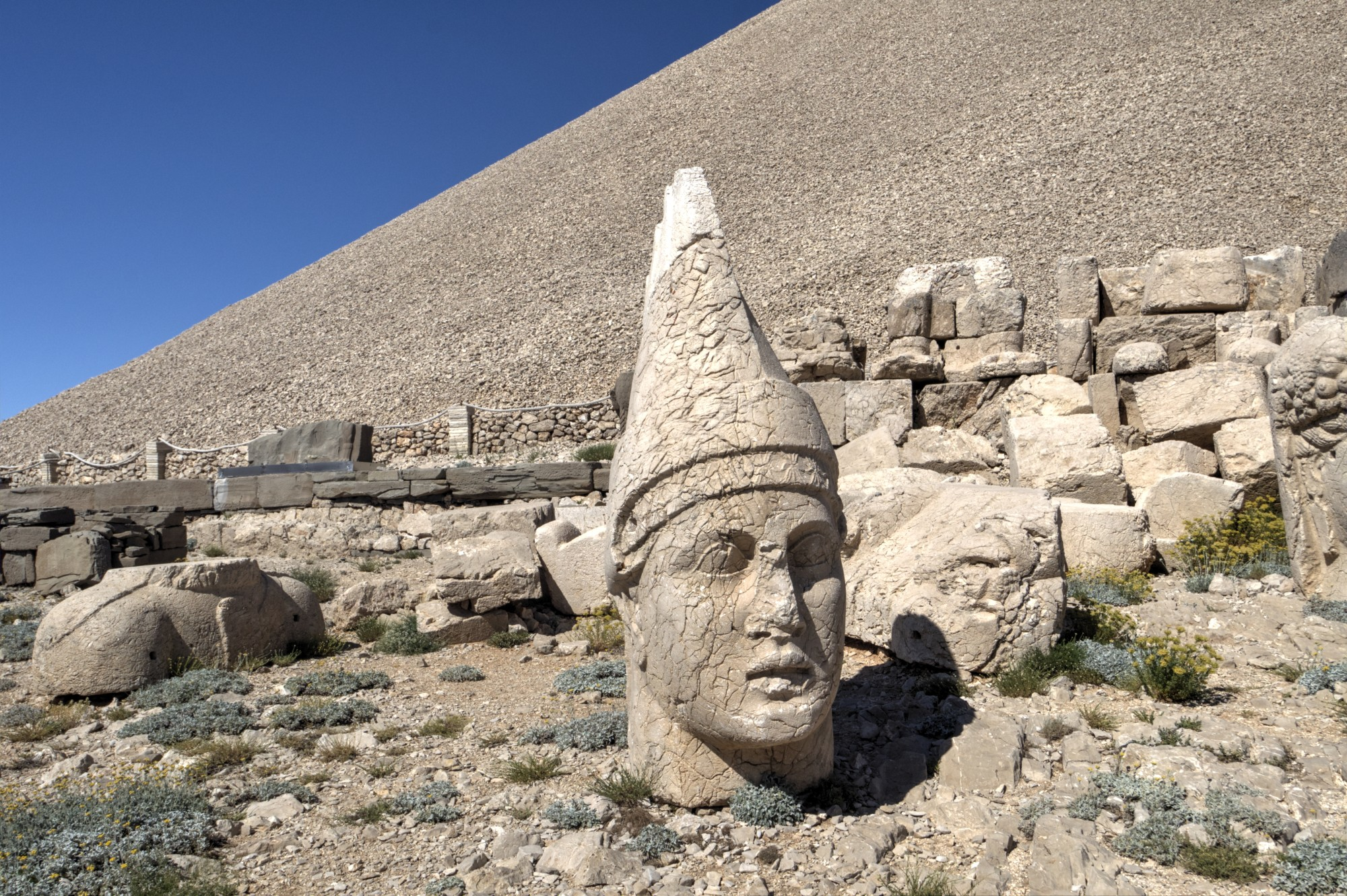 West Terrace on Mount Nemrut, the head of King Antiochus