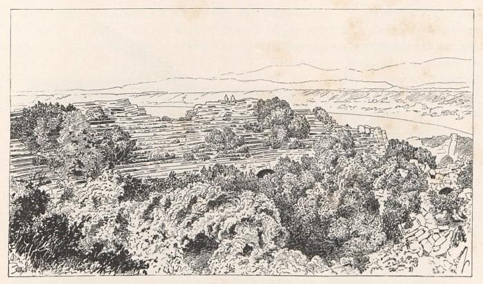 Widok teatru w Side - szkic z książki Miasta Pamfilii i Pizydyi. T. 1, Pamfilia