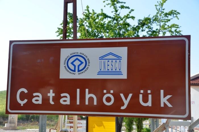 Tablica informacyjna w Çatalhöyük