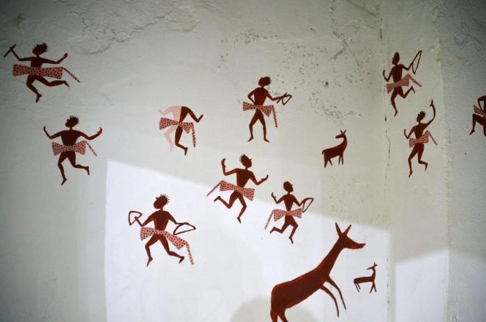 Malowidło na ścianie Centrum dla Gości