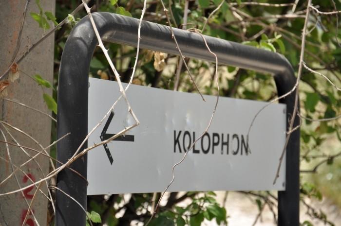 Jeden z kierunkowskazów do Kolofonu